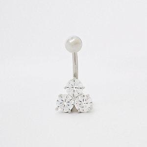 Zilveren navelpiercing met diamanté zirconia-kubus