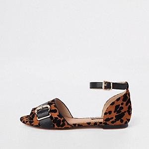 Braune Schuhe mit Peeptoe und Leoparden-Print