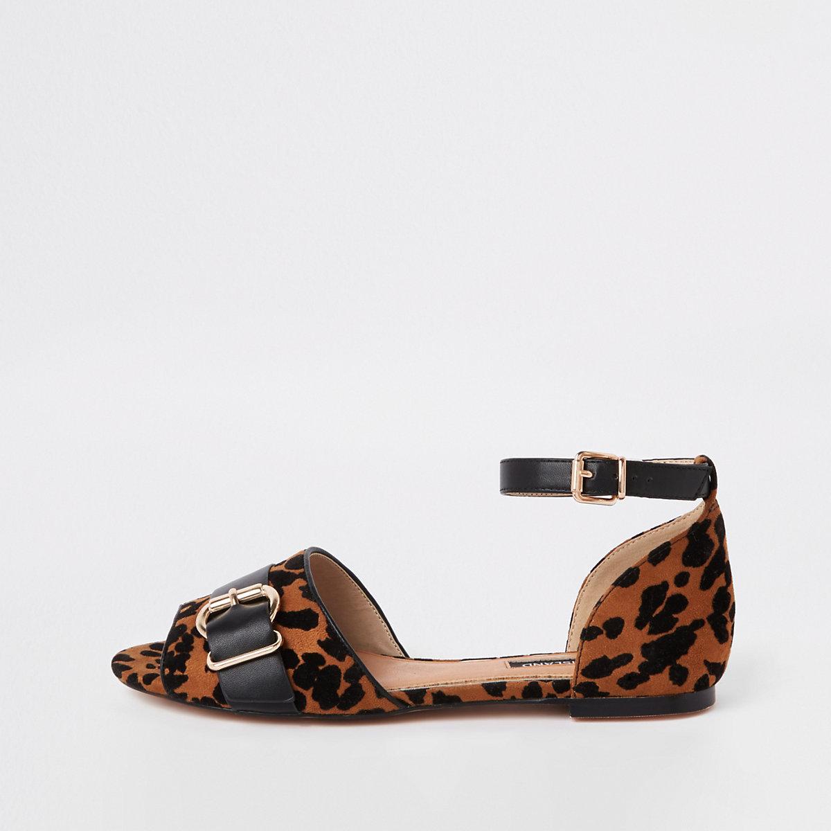 Bruine peeptoe schoenen met luipaardprint