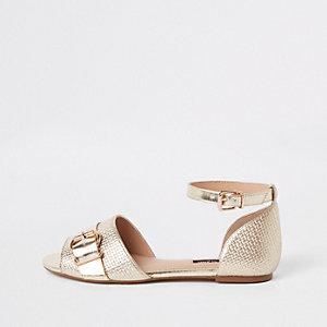 Chaussures à bride de cheville texturées dorées