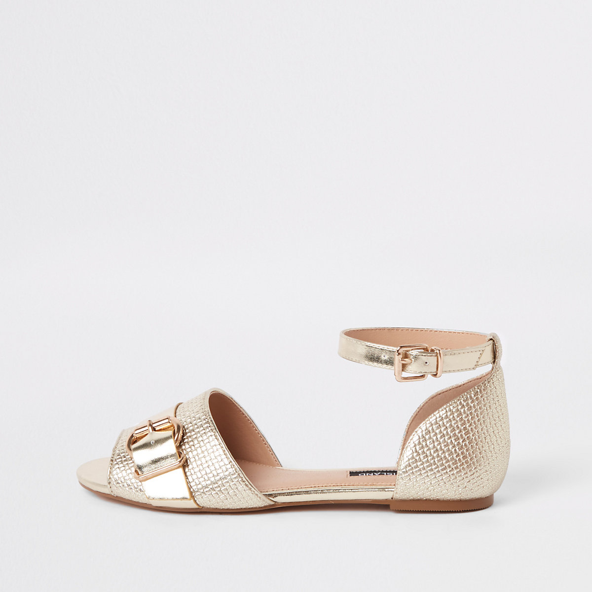 Gold textured ankle strap shoe