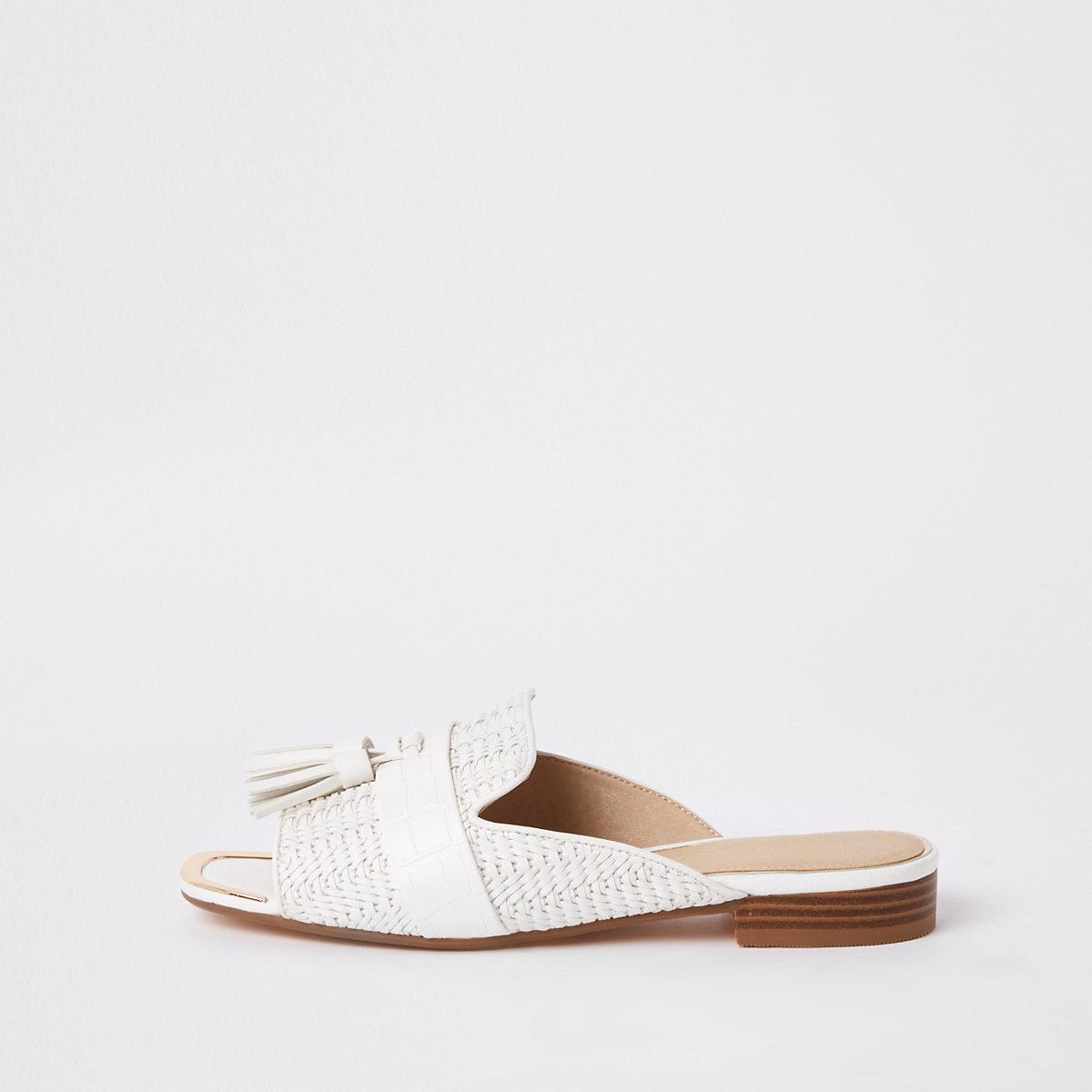 White tassel peep toe mule