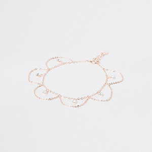 Rose gold rhinestone drop anklet