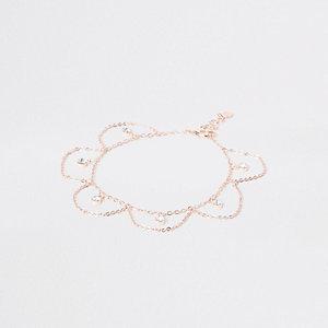 Bracelet de cheville façon or rose à pendentif strass