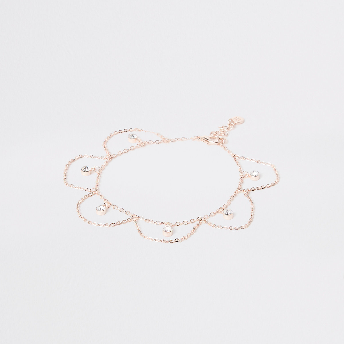 Rose gold diamante drop anklet