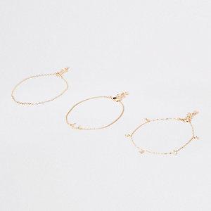 Gold tone horseshoe diamante anklet
