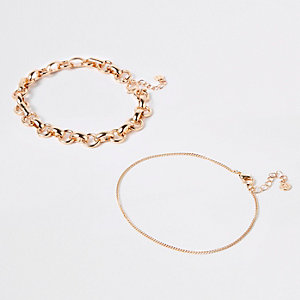 Gold tone chunky anklet multipack