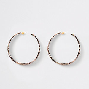 Brown snake print hoop earrings