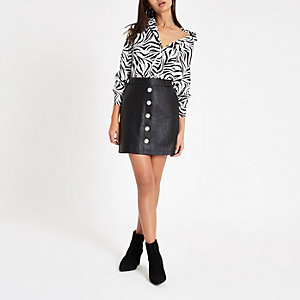 Black faux leather button front mini skirt ab969a7c8