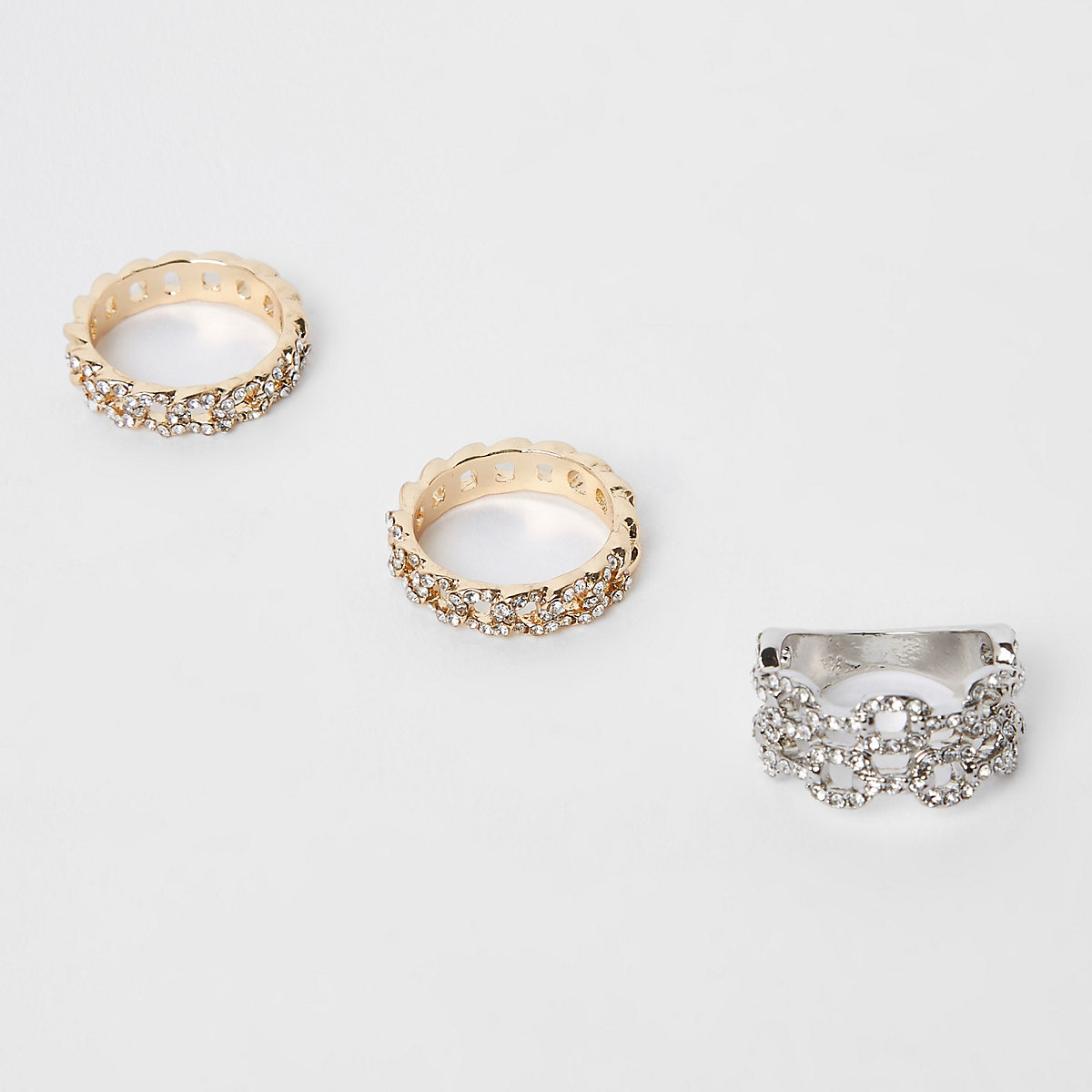 Gold and silver diamante curb chain ring pack