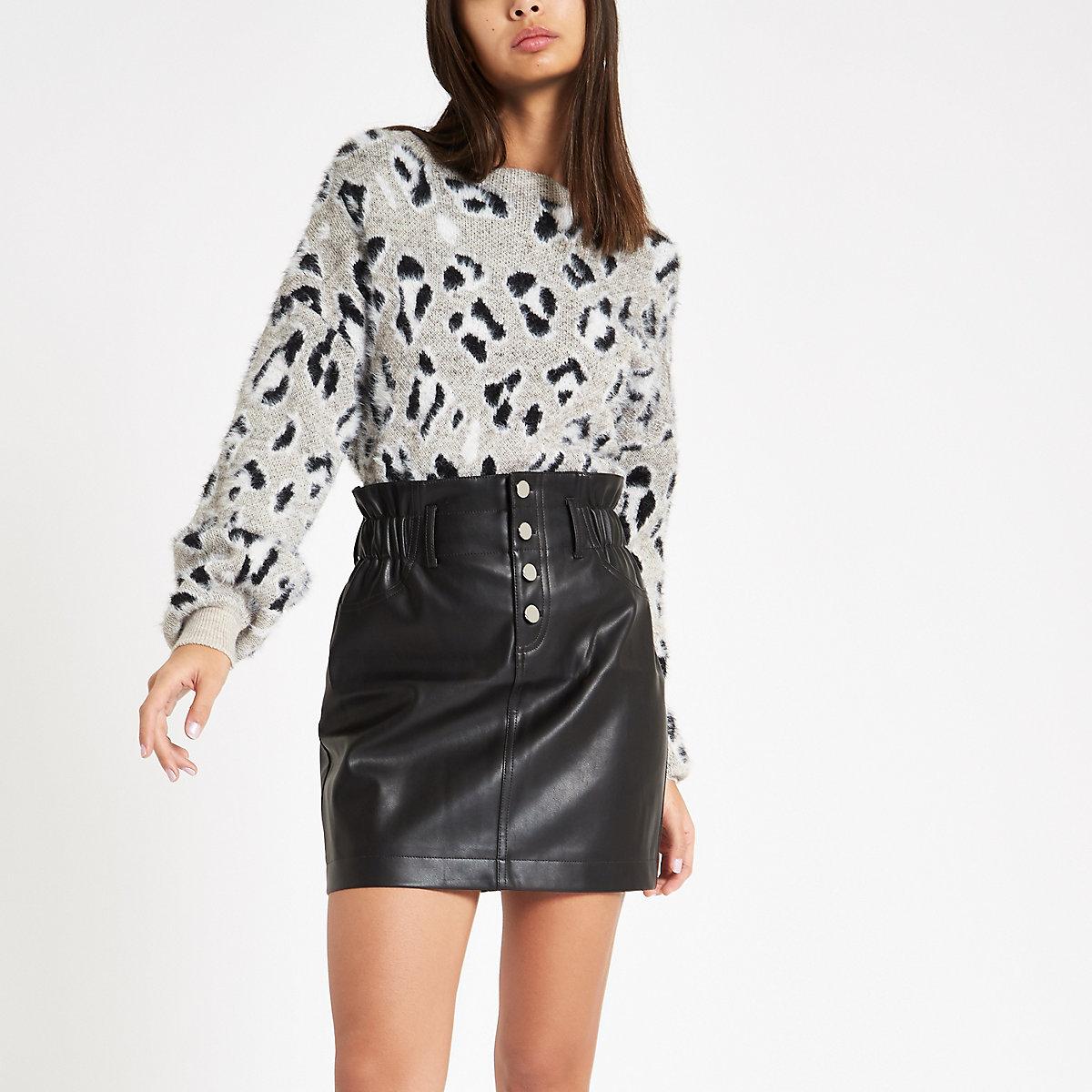 Black faux leather button front mini skirt