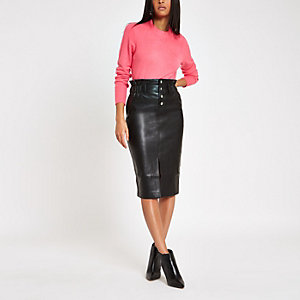 Black button front high waist pencil skirt