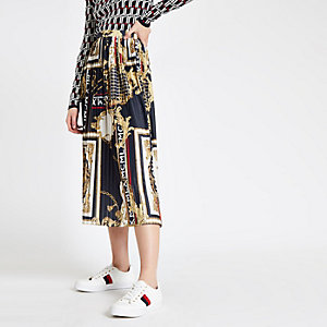 Navy chain print pleated midi skirt