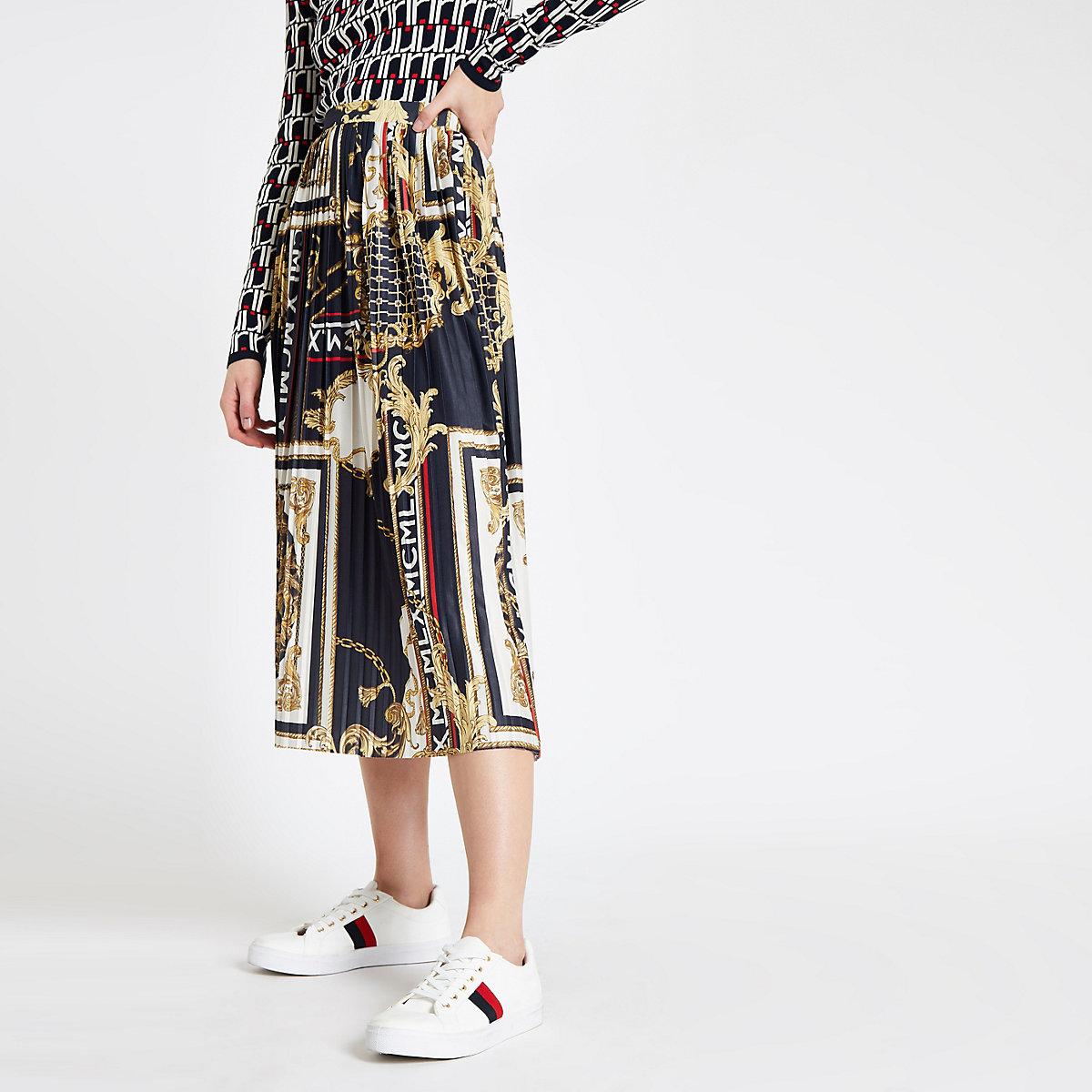 Navy chain print pleated midi skirt