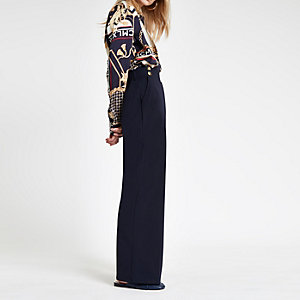 Navy button wide leg trousers