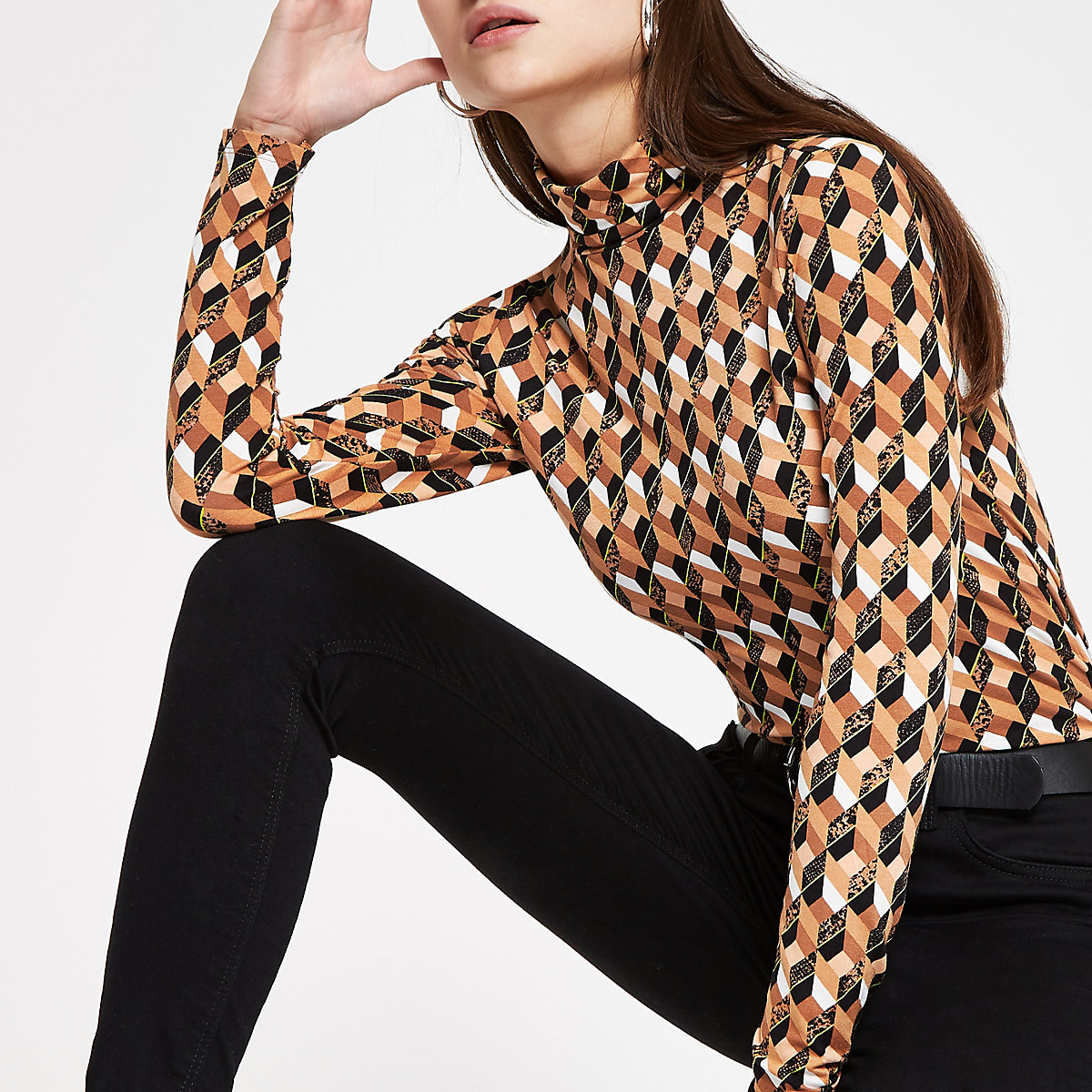 Brown geo print roll neck top