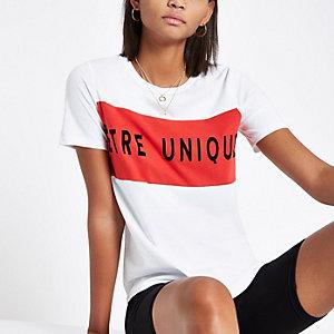 T-shirt imprimé «Être unique» floqué blanc