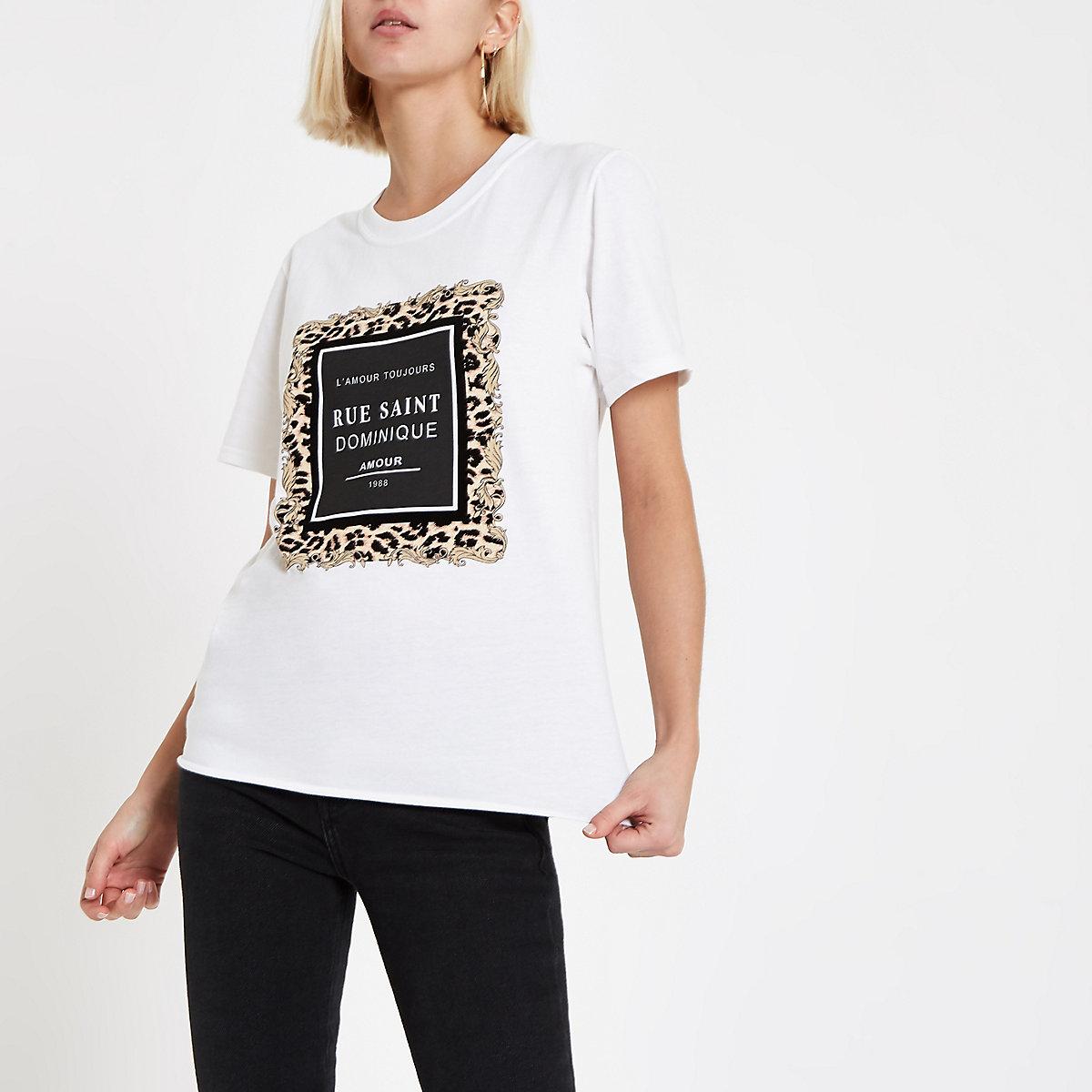 White 'rue saint' leopard print T-shirt