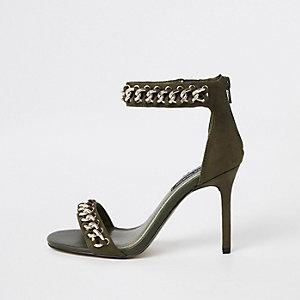 Khaki chain barley there sandals