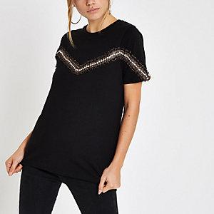 Zwart T-shirt met luipaardprint op de zoom