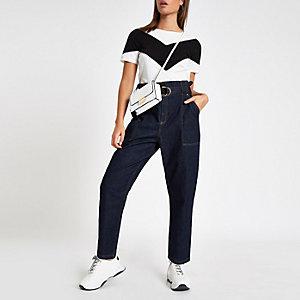 T-shirt colour block noir et blanc