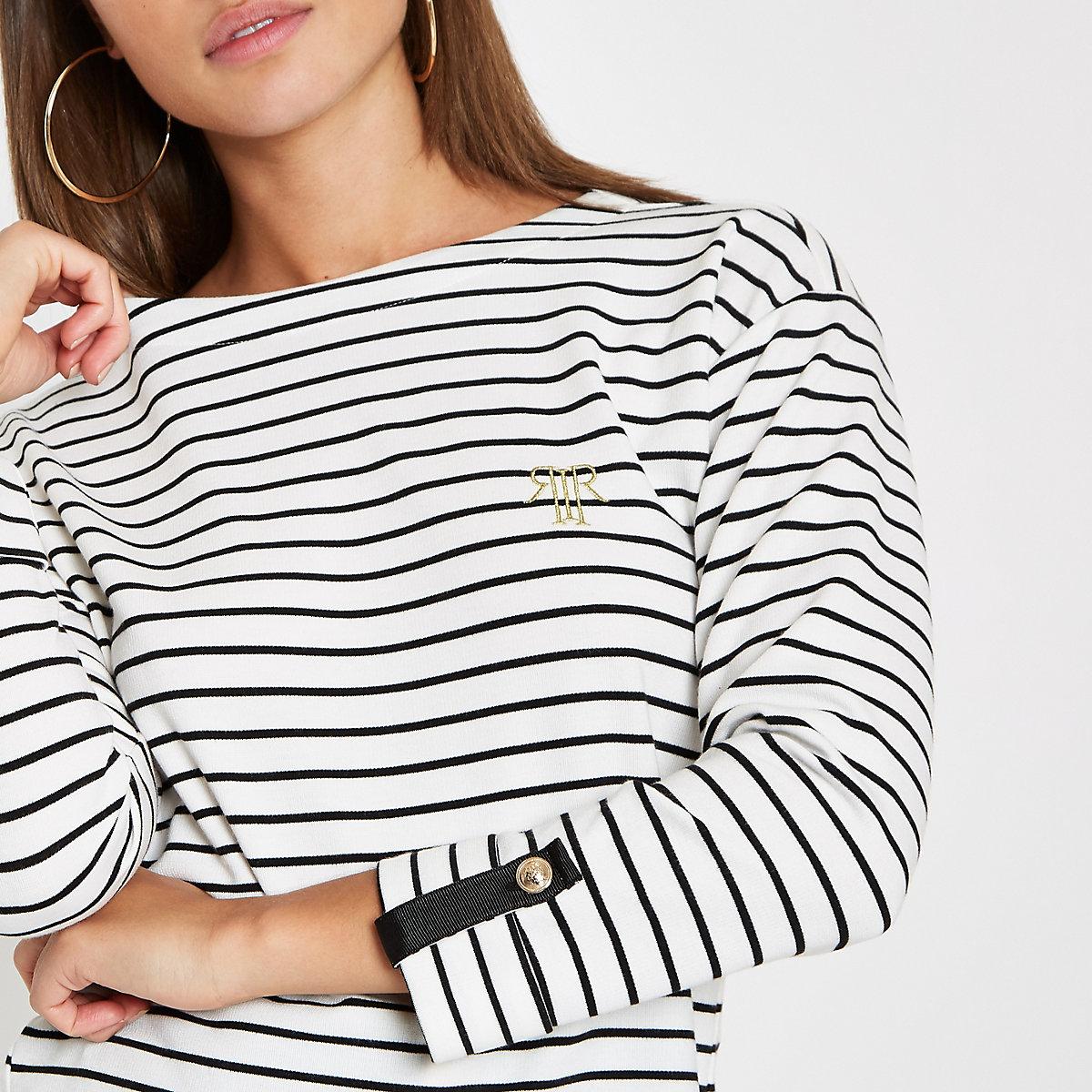 White stripe print jersey top