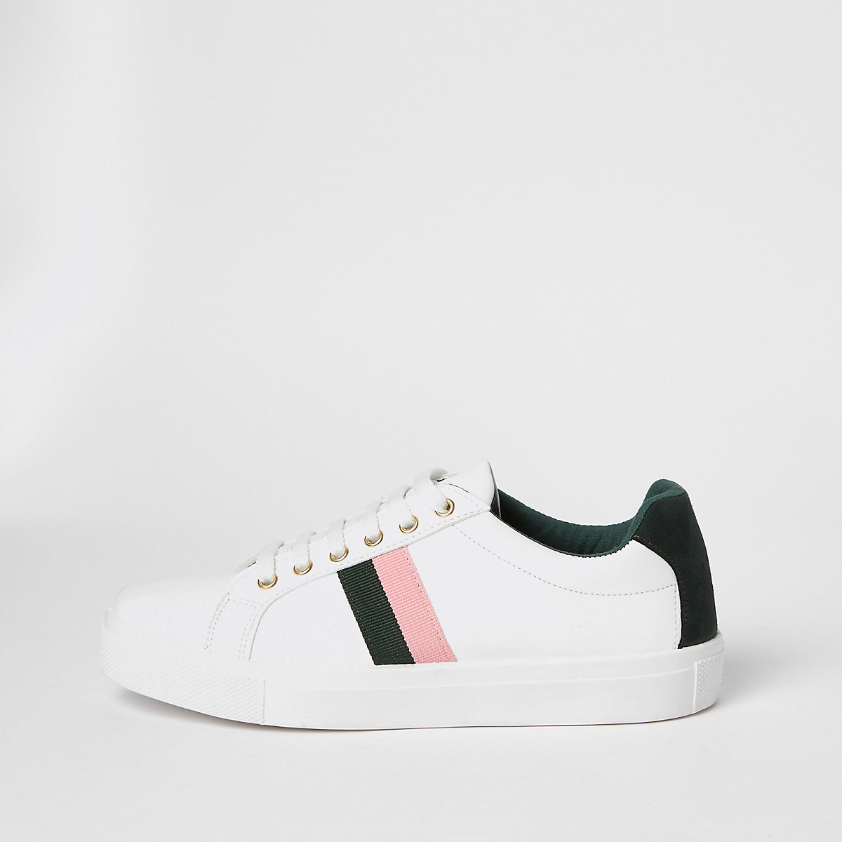 White lace-up side stripe sneakers