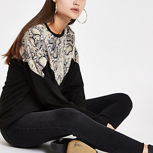 Black snake print block long sleeve top