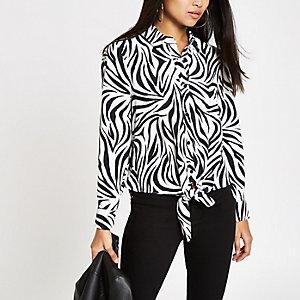 Petite white zebra print tie front shirt