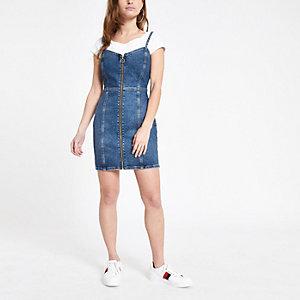 Petite blue zip denim bodycon dress
