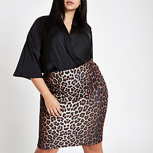 Plus brown leopard print pencil skirt