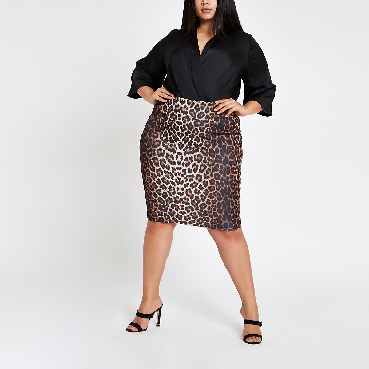 210f3494d16 Plus brown leopard print pencil skirt - Midi Skirts - Skirts - women