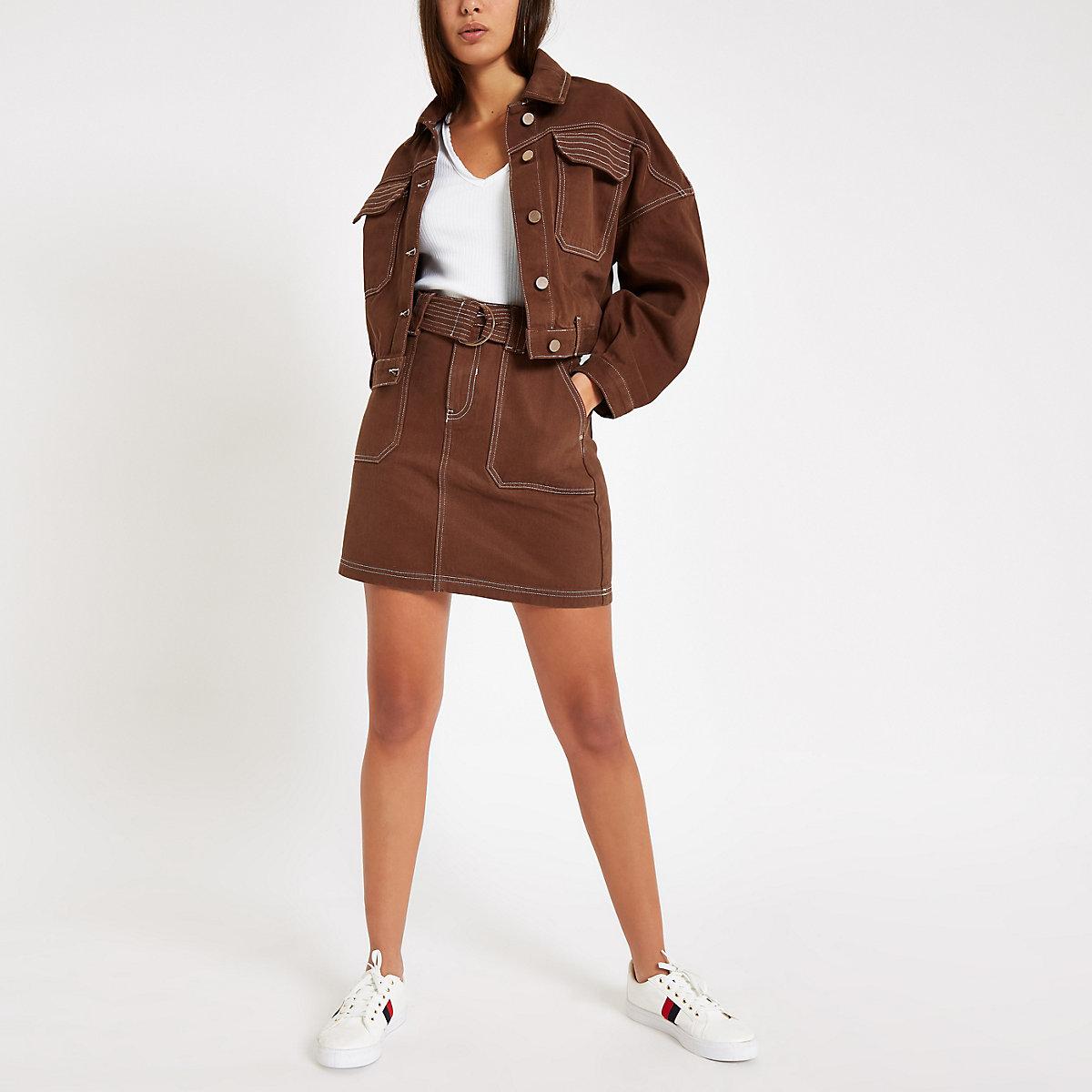 Brown utility denim skirt