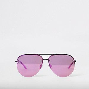 Lunettes de soleil aviateur aux verres violets