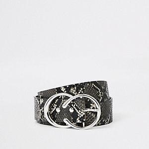 Ceinture imprimé serpent noire à deux anneaux
