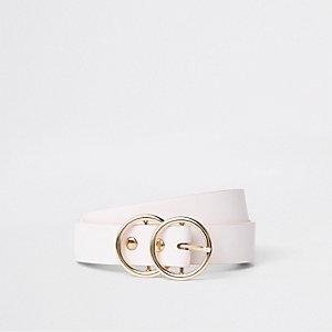 Ceinture fine rose clair à deux anneaux