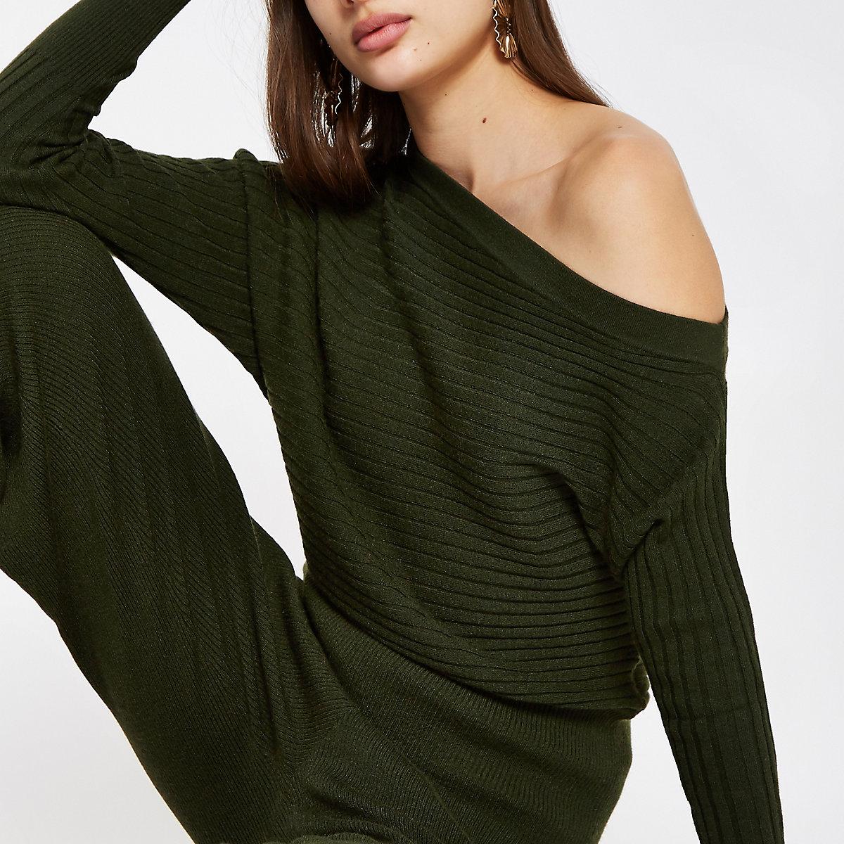 Khaki knit asymmetric sweater