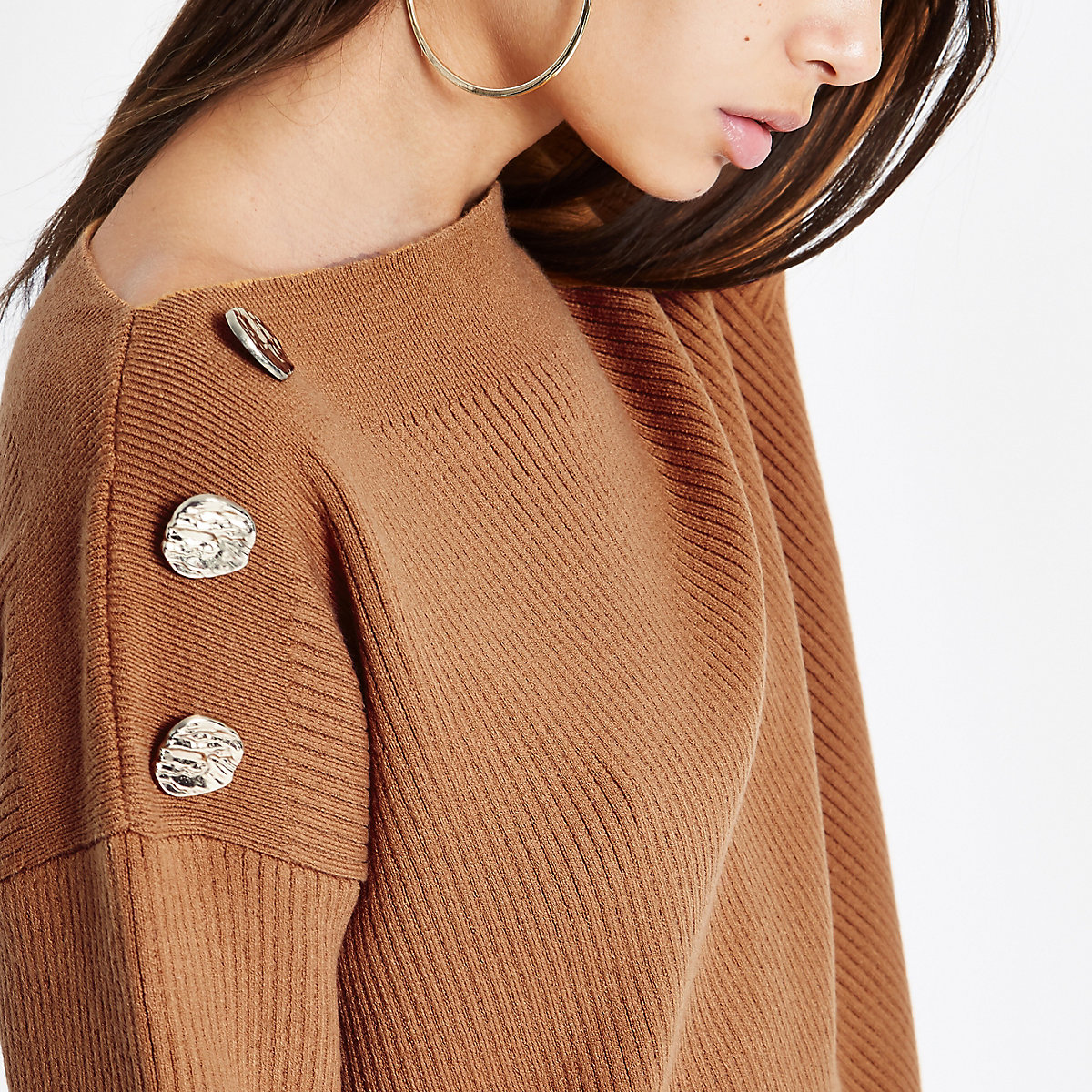 Light brown boat neck button detail sweater