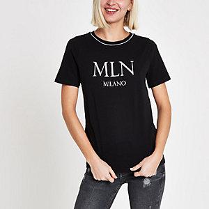 Black 'MLN' print piped T-shirt