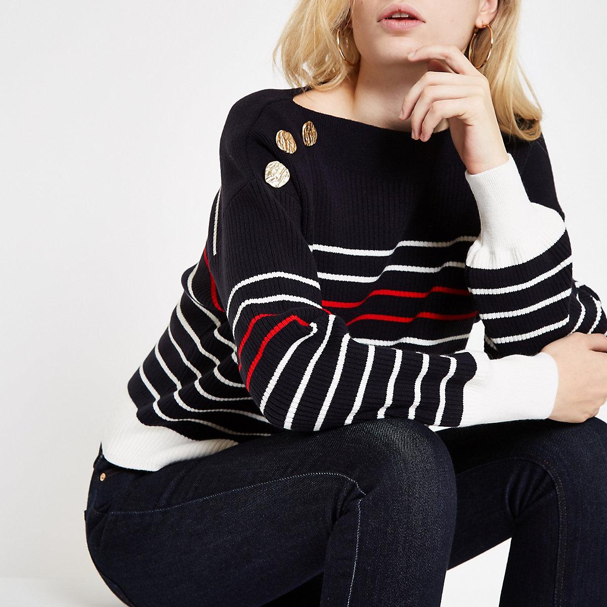 Navy stripe boat neck button detail sweater