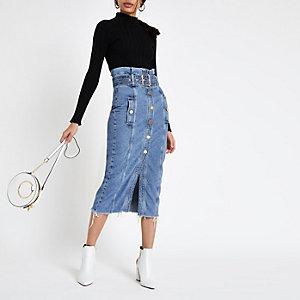 Jupe mi-longue en denim bleu moyen avec taille haute froncée