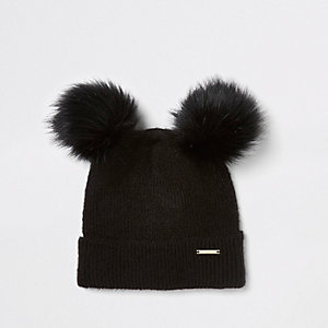 e63cbda57b6 Black faux fur double pom pom beanie hat
