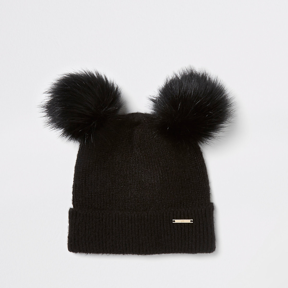 Black faux fur double pom pom beanie hat - Hats - Accessories - women 3088867f3