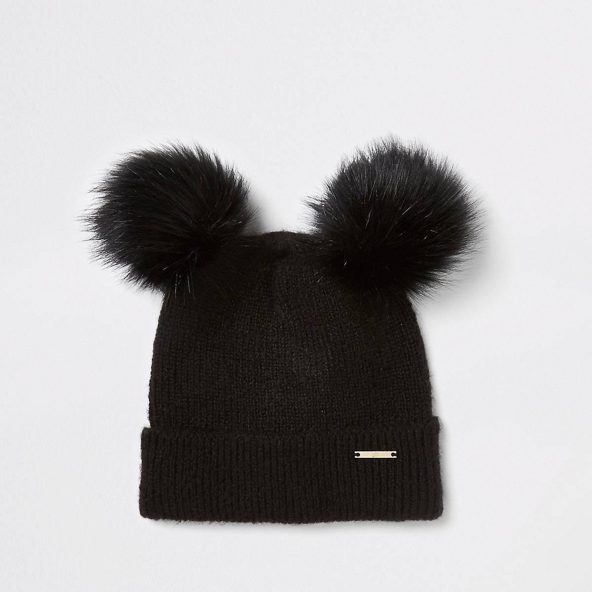 Black faux fur double pom pom beanie hat