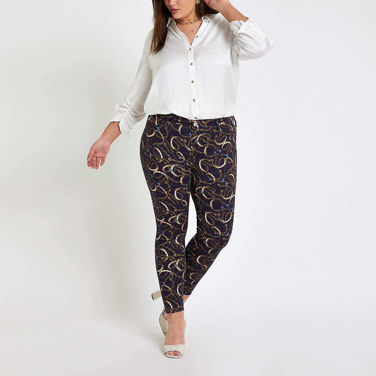 Plus navy Molly chain print jeggings