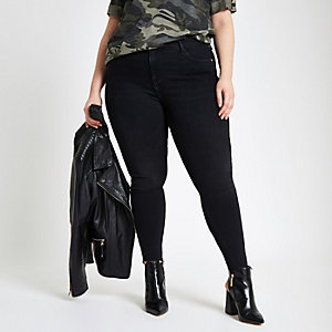Plus black Amelie raw hem jeans