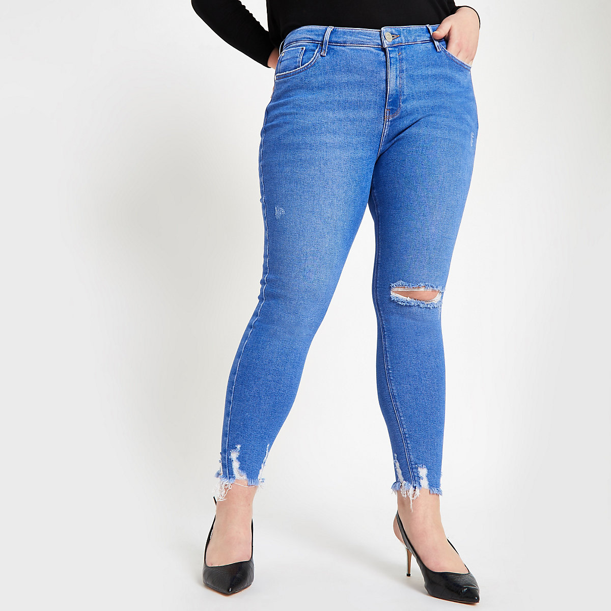 Plus bright blue Amelie ripped skinny jeans