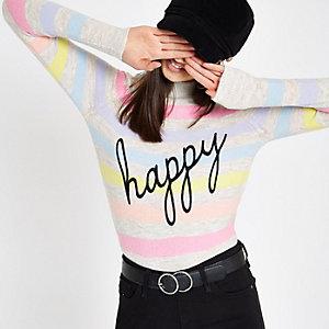 Crème gestreepte pullover met 'Happy'-print en col