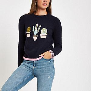 Pull en maille motif cactus bleu marine à col ras-du-cou