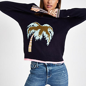 Navy palm tree crew neck knit sweater